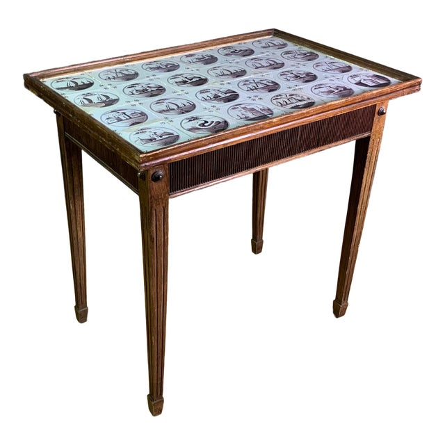 19th Century Louis XVI Style Table, Manganese Faiance Tiles For Sale