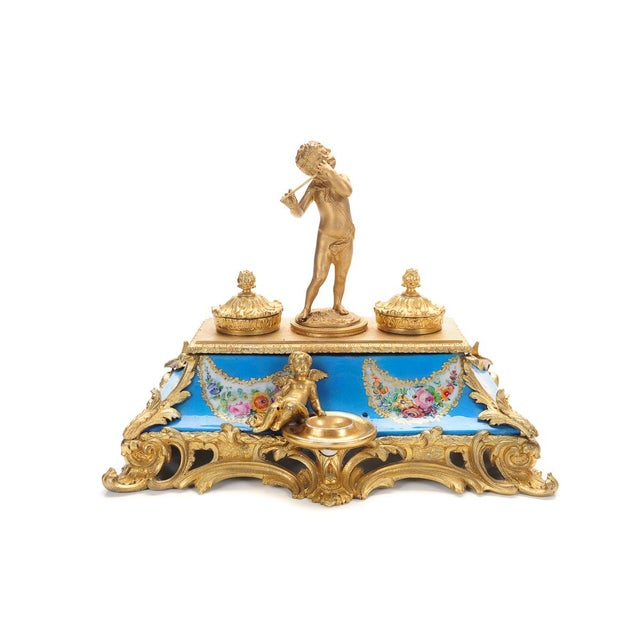 18th C. French Gilt Bronze & Porcelain Inkwell - Image 6 of 9