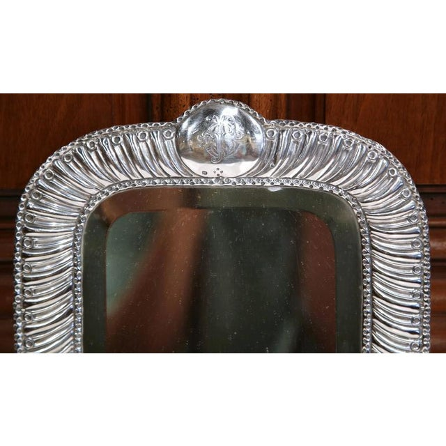Mid 19th Century 19th Century French Repousse Silver Table Frame With Beveled Glass For Sale - Image 5 of 10