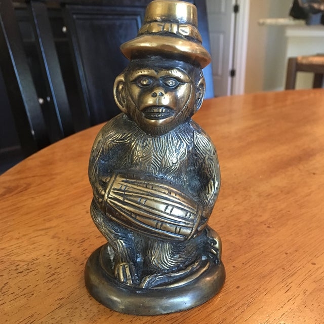 Vintage Solid Brass Monkey - Image 2 of 6