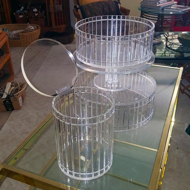 1990's Translucent Vertical Facet Cut Lucite Grainware Canister and Bowls - Lot of 3 For Sale - Image 13 of 13
