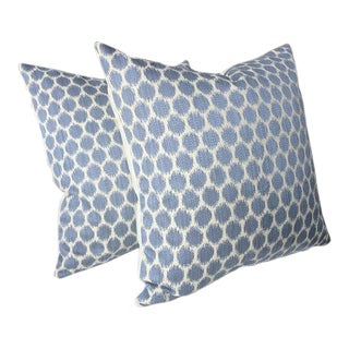 "Jane Churchill for Cowtan & Tout ""Patino"" Blue Pillows - A Pair"