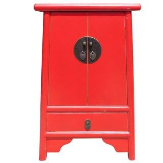 Chinese-Style Tapered Red Nightstand
