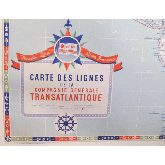 1950s Original Vintage French North American Route Map, the French Line For Sale - Image 5 of 8