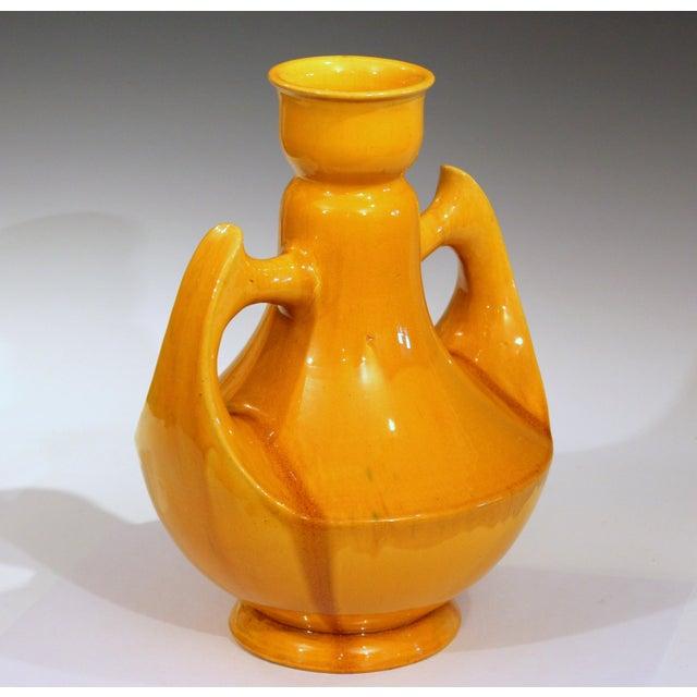 Art Deco Large Awaji Art Deco Studio Pottery Japanese Wing Handled Golden Yellow Vase For Sale - Image 3 of 11