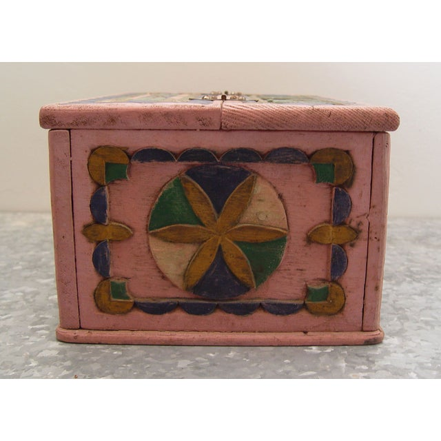1936 Folk Art Carved and Painted Box - Image 5 of 7