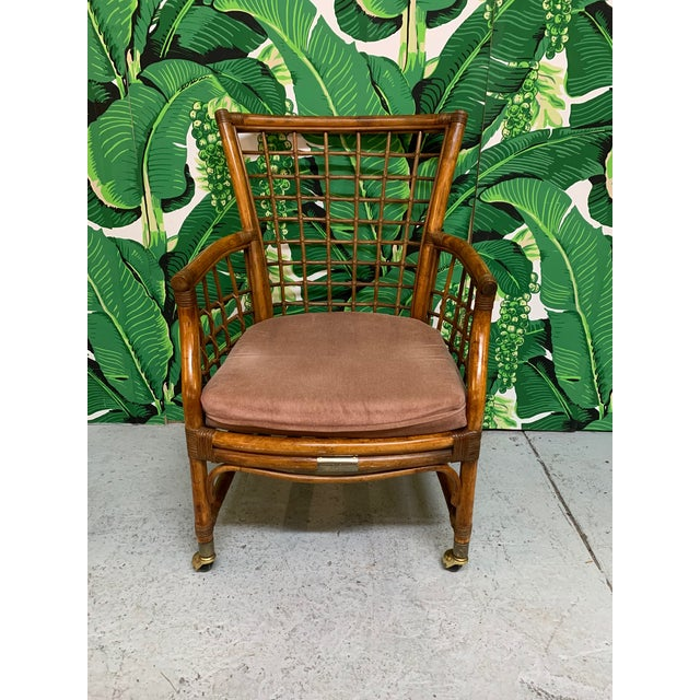 1970s Rattan and Brass Dining Set For Sale - Image 5 of 10