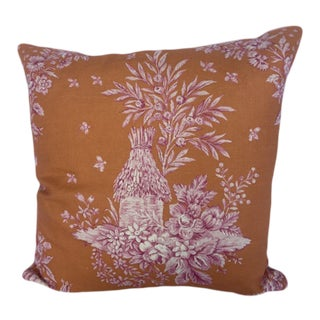 Orange & Pink Toile Pillow Cover For Sale