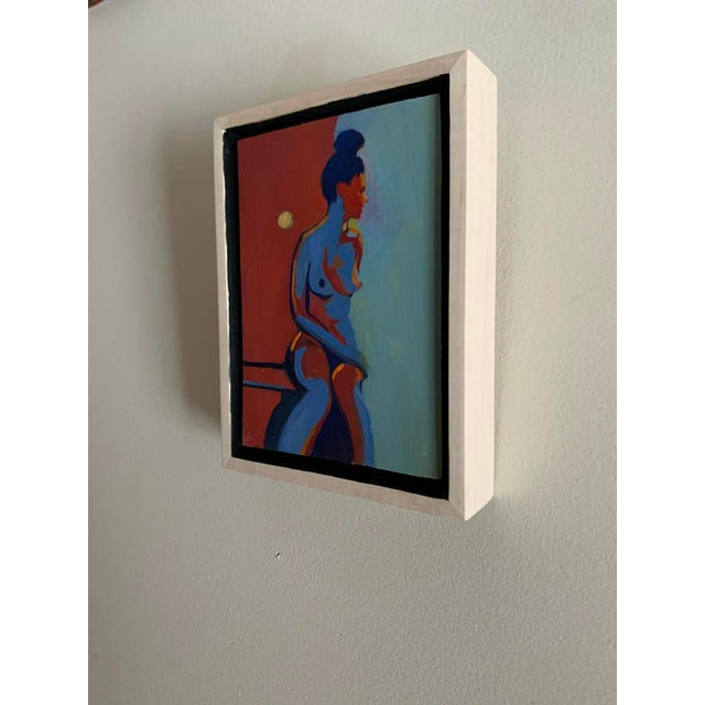 """Contemporary """"Figure With Moon"""" Contemporary Minimalist Figurative Oil Painting, Framed For Sale - Image 3 of 4"""