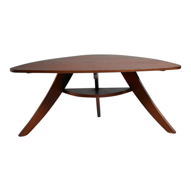 Two Tier Triangle Shaped Coffee Table, Netherlands, 1950s For Sale