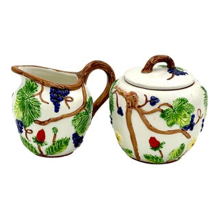 Vintage Late 20th Century Italian Hand-Painted Ceramic White Creamer & Sugar Bowl Set - 2 Pieces For Sale