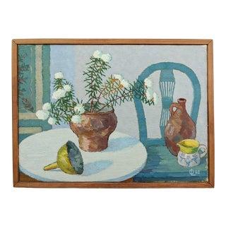 1962 Tabletop Still Life Interior Scene Oil Painting, Framed For Sale