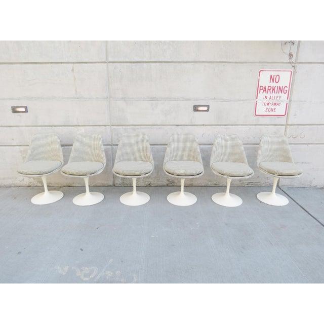 Vintage MODERN Set of six fully upholstered Tulip Side Chairs in original houndstooth fabric. Designed by Eero Saarinen in...