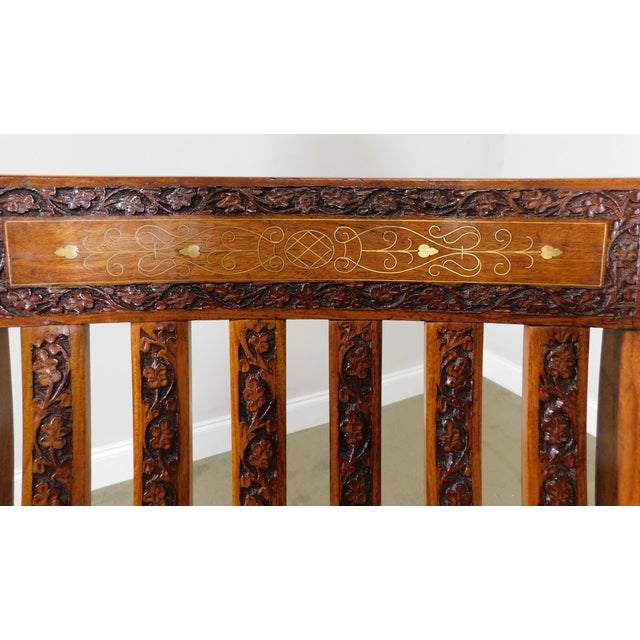Vintage Indian Carved Hardwood Brass Inlaid Rocker For Sale - Image 10 of 13