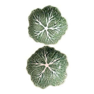 Majolica Bordallo Pinheiro Green Cabbage Bowls - A Pair For Sale