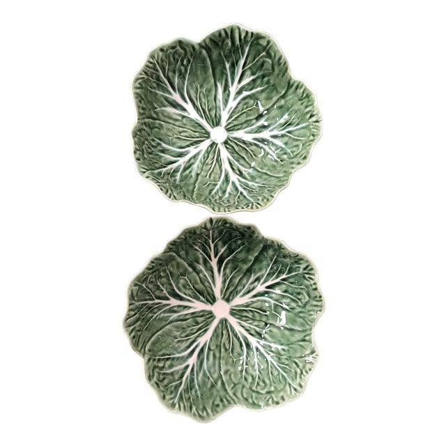 Majolica Bordallo Pinheiro Green Cabbage Bowls - A Pair For Sale