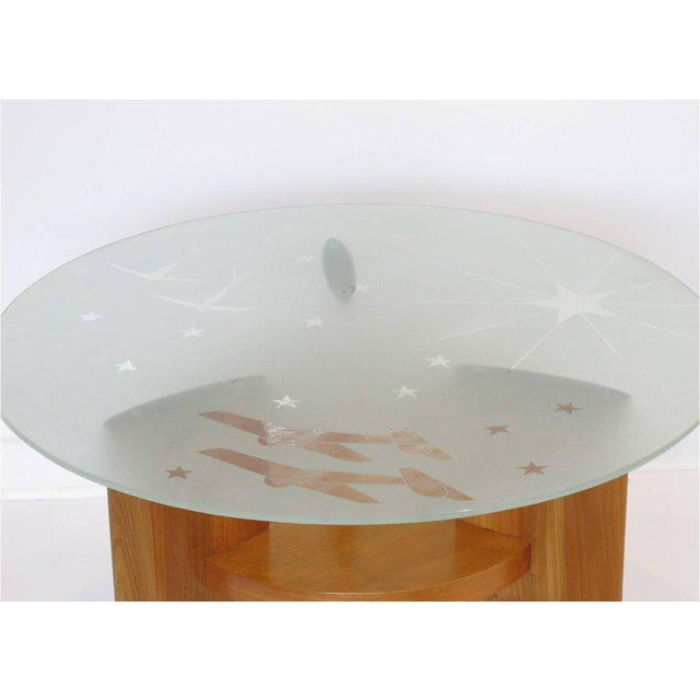Art Deco Saint Gobain Glass-Top Etched Aviation Coffee Table - Image 5 of 11