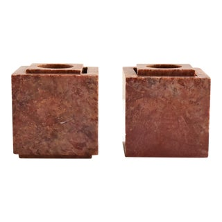 Vintage Rust Red Marble Cube Candle Holders - a Pair For Sale