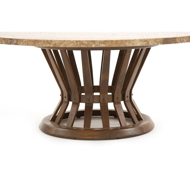 Edward Wormley for Dunbar 'Sheaf of Wheat' coffee table, circa early 1960s. This example has an exquisite travertine top,...