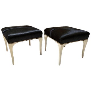 Pair of Pony Skin Ottomans, Sabre Legs With Lacquered Finish For Sale
