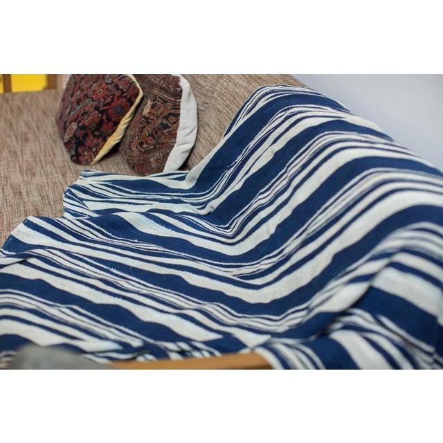 Vintage Indigo Stripe Throw - Image 3 of 7