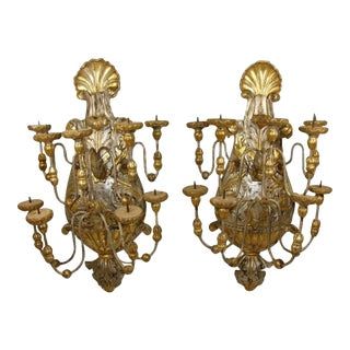 1880 Italian Gilt Wood Candle Sconces - a Pair For Sale