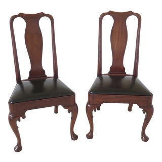 Pair Kittinger Colonial Williamsburg Mahogany Side Chairs For Sale
