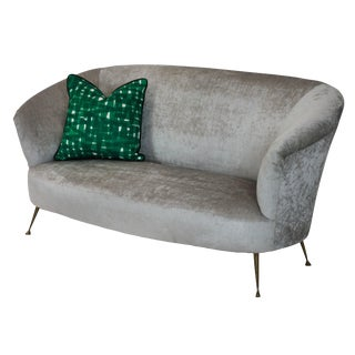 1950's Grey Velvet Curved Parisi Sofa For Sale