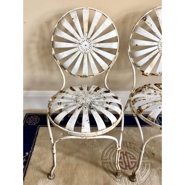 French Francois Carre White Iron Sunburst Garden Chairs - a Pair For Sale - Image 3 of 13