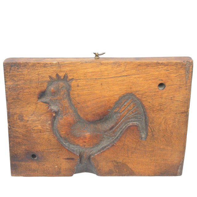 Hand-Carved Early 19th Century Folky Wood Rooster Mold - Image 1 of 6