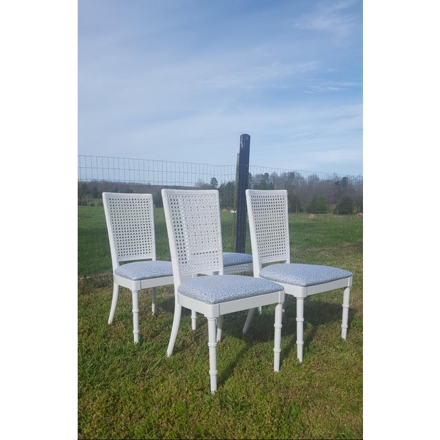 Asian Set of 4- White Palm Beach Regency Faux Bamboo Caned Dining Chairs For Sale - Image 3 of 13