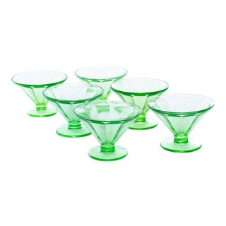 1930s Green Glass Faceted Dessert Glasses - Set of 6 For Sale