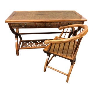 Vintage Chinese Writing Desk + Chair For Sale