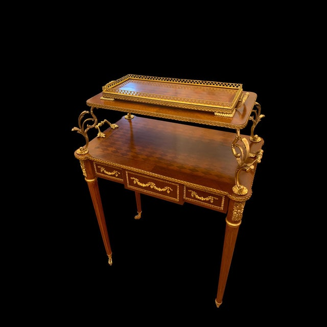 2000 - 2009 French Louis XVI Rolling Serving Table For Sale - Image 5 of 5