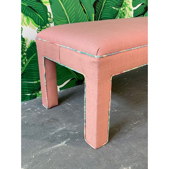 Pink Upholstered Bench Seat Circa 1980s For Sale In Jacksonville, FL - Image 6 of 8