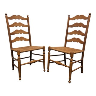 Ethan Allen Ladder Back Rush Seat Dining Side Chairs - Pair 2 For Sale