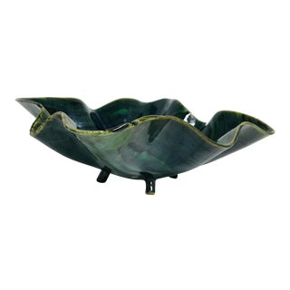 Glazed Green Footed Berry Pottery Bowl For Sale
