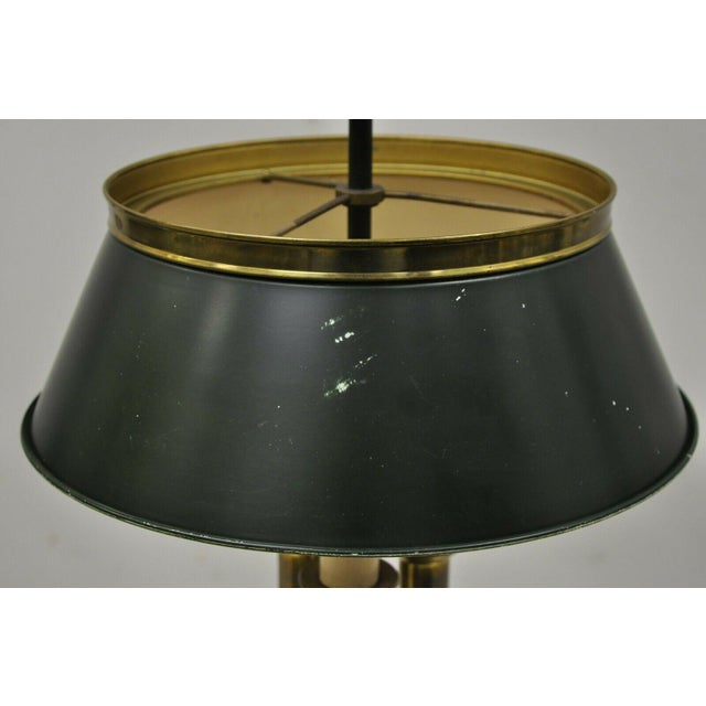 Metal Vintage Green Tole French Empire Brass 3 Light Desk Bouillotte Table Lamp For Sale - Image 7 of 11