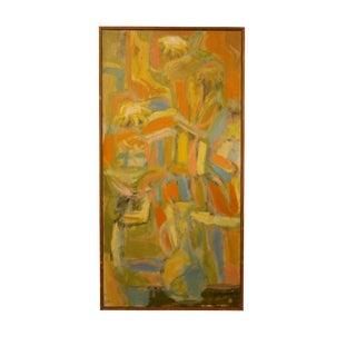 1965 Abstract Oil Painting on Canvas by P. Monnin For Sale