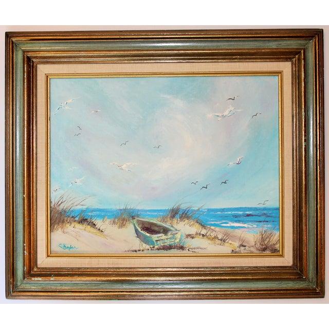 Vintage Beach Seascape Original Oil Painting For Sale - Image 13 of 13