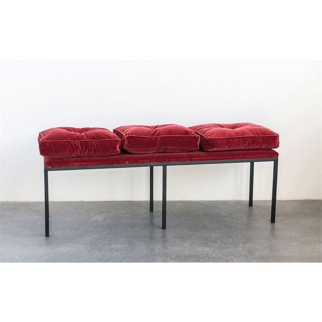 Art Deco Velvet Bench For Sale - Image 4 of 6