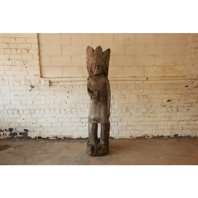 Life Size American Carved Wood Cigar Store Indian - Image 2 of 8