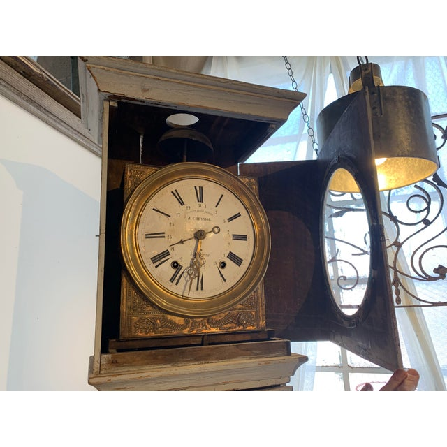 Antique French Painted Grandfather Clock For Sale - Image 4 of 13