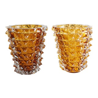 Pair of Amber Murano Vases For Sale