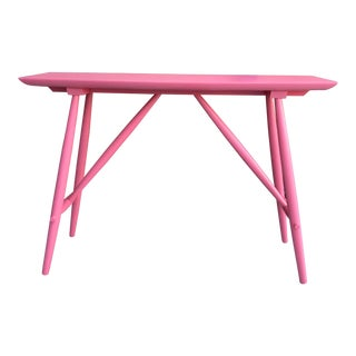 1960s Mid-Century Modern Pink Painted Console Table For Sale