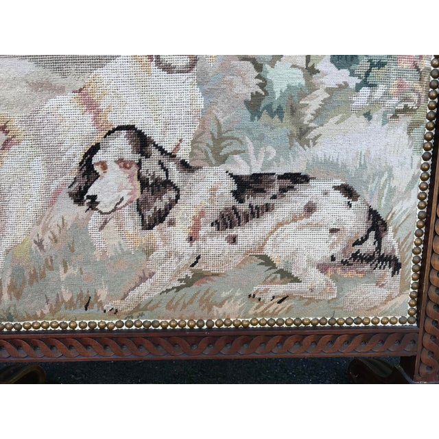 Traditional 19th-Century Needlepoint Fire Screen For Sale - Image 3 of 9