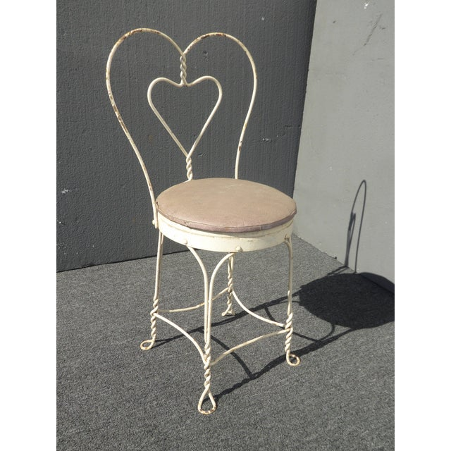 Vintage Farmhouse Industrial White Iron Table & Four Heart Shaped Chairs Set For Sale In Los Angeles - Image 6 of 12