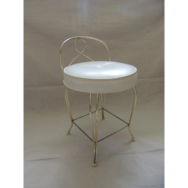 Vintage Round Brass Art Deco Vanity Stool With Upholstered Seat For Sale - Image 4 of 4