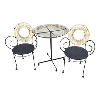 Mid-Century Modern Arthur Umanoff Cafe Table and Chair Set - 3 Pieces For Sale
