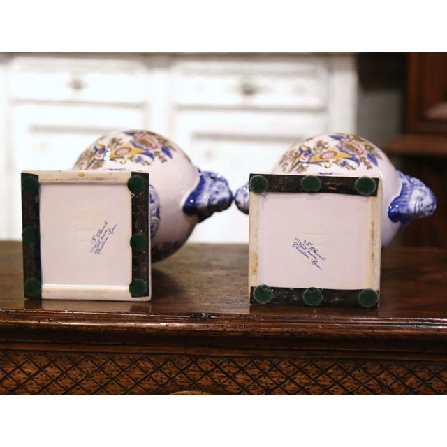 """Pair of Mid-Century French Hand Painted Faience """"Saint Clement"""" Urns With Lids For Sale - Image 11 of 13"""